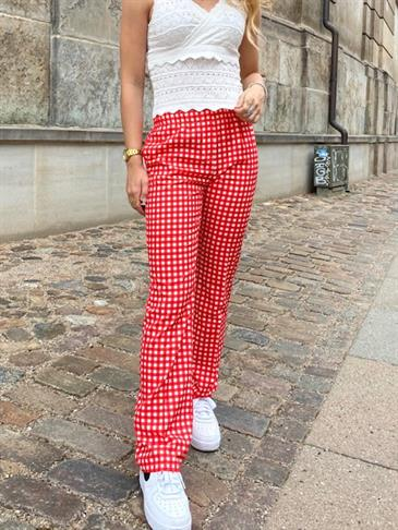 Straight satin pants - checked red