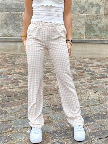 Straight satin pants - checked light beige