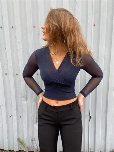 Stine glitter top navy