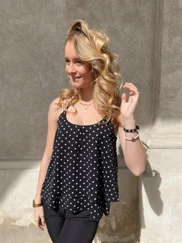 Imani top with dots, black