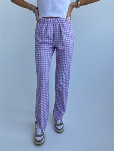 Straight satin pants Petit (short lenght) - checked purple