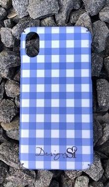 iPhone cover checked blue
