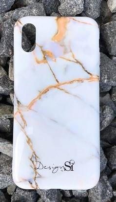iPhone cover white & gold marble